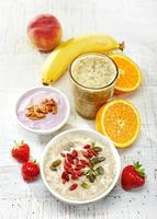Healthy breakfast ingredients, top view