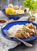 chicken with lemon, curry, ginger and rice