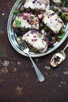 Semifreddo or italian cheese ice-cream dessert with garden berries