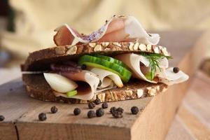 Delicious sandwich for breakfast, you want eat it photo