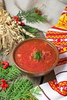 Ukrainian and polish traditional red borsch photo