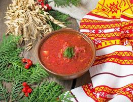 Ukrainian and polish traditional red borsch photo