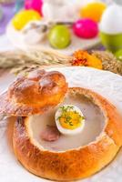 Sour rye soup photo