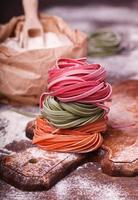 Colorful pasta tagliatell
