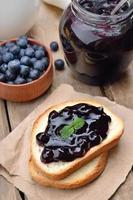 Toasted bread with blueberry jam