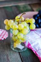 twig of green grapes in a glass