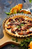 Quiche with chanterelle mushrooms