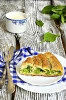 Spiral pie with cheese and spinach.