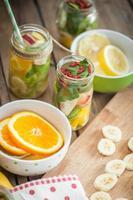Fresh cutted fruit in jar
