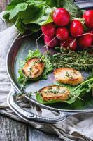 Fried bread croutons with vegetables photo