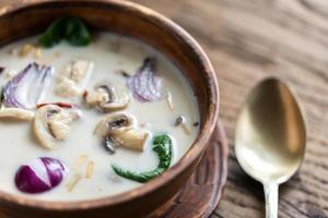 sopa tailandesa de crema de coco