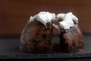 Closeup of homemade Christmas pudding