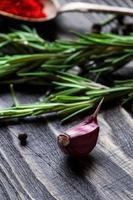 Garlic wooden background photo