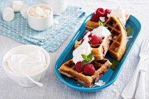 Coconut raspberry waffles