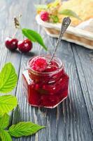 Cherry jam and raspberry