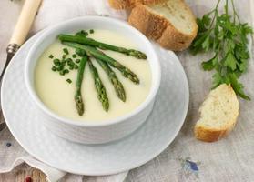 Asparagus soup puree photo