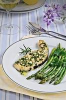 Grilled sword fish with asparagus photo