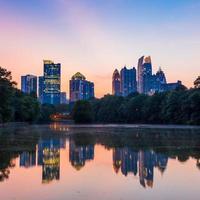 Atlanta  Skyline from Piedmont Park's Lake Meer. photo