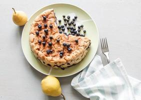 Blueberry cake with pears photo