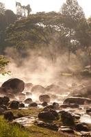 Smoke rising from hot springs .