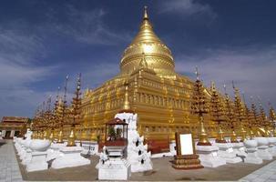 Shwezigon Paya temple, Bagan, Myanmar. photo