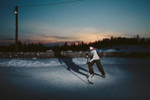 Pond Hockey at Sunset