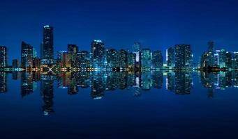 Miami skyline night panorama photo