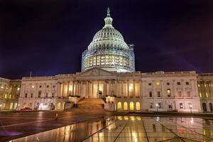 US Capitol North Side Construction Night Washington DC Reflection
