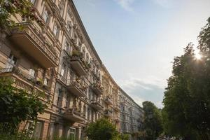 Restored stucco facades in a city