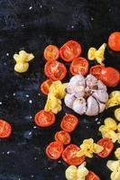 Pasta and tomatoes photo