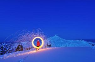 Fire Wheel and Mt. Baker