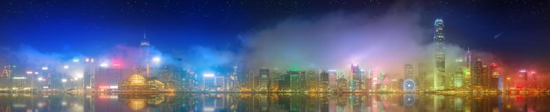 panorama van hong kong en financiële wijk