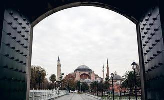 Famous Hagia Sophia and cloudy sky
