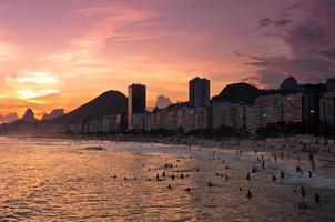 Sunset in Copacabana Beach