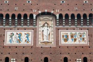 mosaic on castle facade