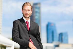 Handsome blonde male manager