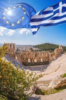 Acropolis, flags of Greece and  European Union in Athens, Greece