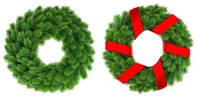 Christmas decoration evergreen wreath with red ribbon