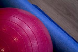 Pilates red exercise ball photo