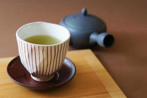 Cup and Japanese green tea photo