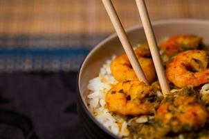 Curry Prawns with rice Caribbean Tasty food