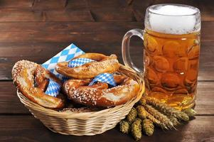 Bavarian pretzels with beer photo