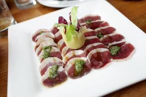 Duck breast slices photo