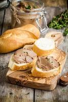 homemade chicken liver pate with fresh baguette