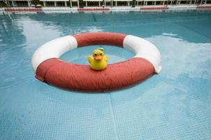 gelbe schwimmente auf rettungsring im freibad foto