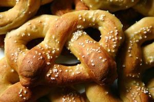 Close-up of soft pretzels with salt