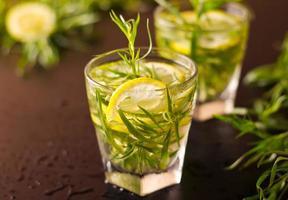 Mojito cocktail with fresh tarragon photo