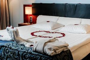 Honeymoon bed decorated photo
