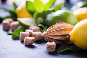 Ingredients for refreshing lemon drink photo