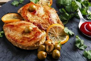 roasted chicken breast with  lemon